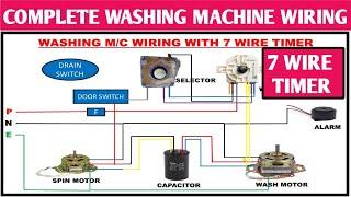 WASHING MACHINE WIRING WITH 7 WIRE TIMER! 7 WIRE WASH TIMER! 7 WIRE TIMER  CONNECTION - YouTubeYouTube