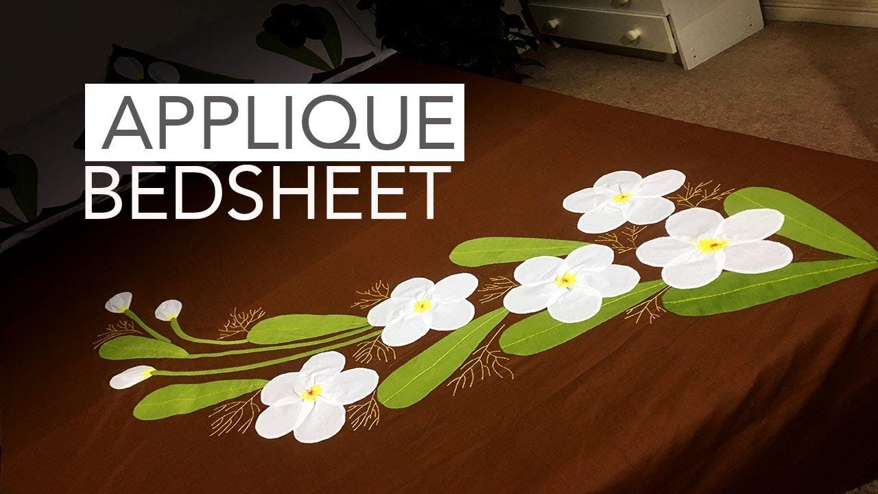 Applique aplic work design hand made bed sheet and pillow