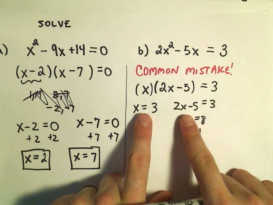Solving Quadratic Equations By Factoring Basic Examples Youtube