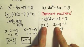 Solving Quadratic Equations by Factoring - Basic Examples thumbnail