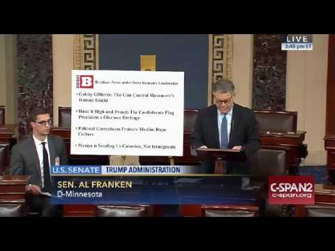 Al Franken SLAMS Steve Bannon and Breitbart News On Senate Floor 11/17/16
