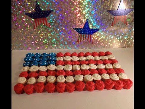 USA Flag Cupcake Display