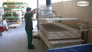 Vacuum Tube Lifter Jumboergo Enables Swivelling Of Heavy Wooden Sheets | Schmalz