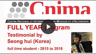 CNIMA – école internationale d'accordéon – Seong Hui testimonial