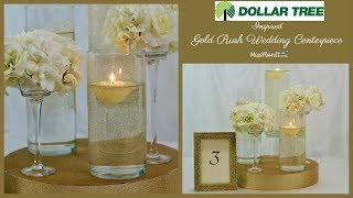 DIY Tall Gold Rush Elegant Wedding Centerpiece | Dollar Tree Projects | DIY Tutorial