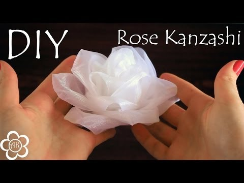 Белая роза из органзы / Kanzashi Rose Tutorial