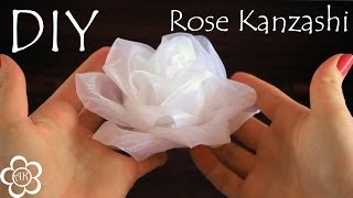 Белая роза из органзы / Kanzashi Rose Tutorial