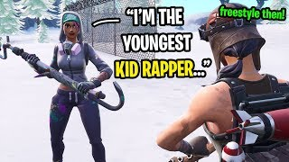 I found the youngest kid RAPPER in Fortnite random duos... (He FREESTYLED in my game)