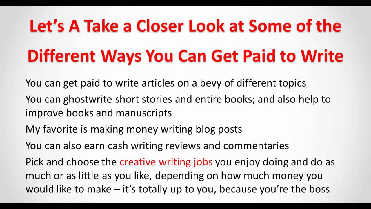 make money blogging doing creative writing jobs