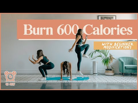 BURN 600 CALORIES with this 45-minute cardio AT HOME workout (No Equipment!)