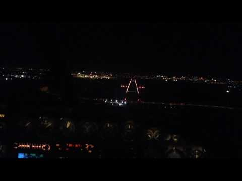 Cockpit view night landing at Adelaide Airport
