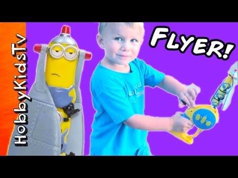 Minion Heroes Flying Toy! HobbyPuppy Chase Attacks the Flyer + HobbyBear Review HobbyKidsTV