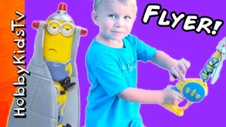 Minion Heroes Flying Toy! HobbyPuppy Chase Attacks the Flyer + HobbyBear Review HobbyKidsTV