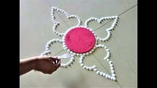 Very Easy and Beautiful Rangoli Using Bangles and Fork|Creative Rangoli by Shital Mahajan