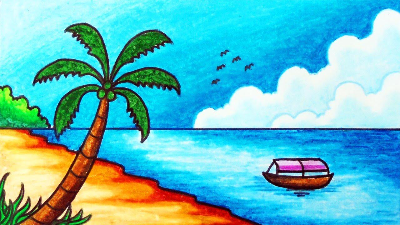 Cara Menggambar Pemandangan Laut Dan Pantai Yang Mudah Gambar Pemandangan Alam Pantai Tropis Youtube