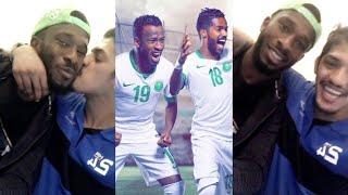 فيصل اليامي في ملعب مباراة السعودية واليابان ومع فهد المولد