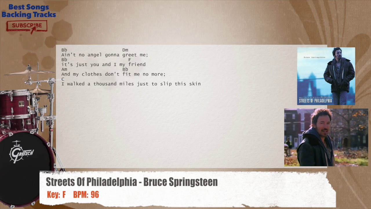 3fe9b11b33502 Streets Of Philadelphia - Bruce Springsteen Drums Backing Track with ...
