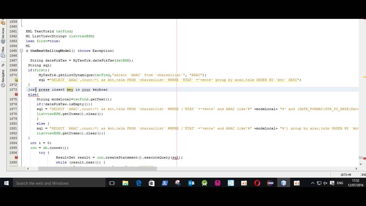 how to turn off overwrite in netbeans - YouTube