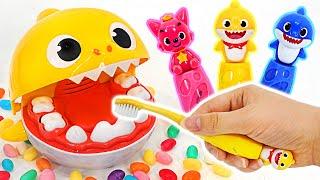 핑크퐁 아기상어 칫솔로 양치 했더니 이빨 색깔이 바껴요…