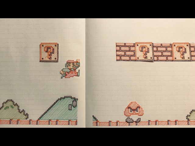 Paper Mario Bros. in my notebook [Stop Motion]