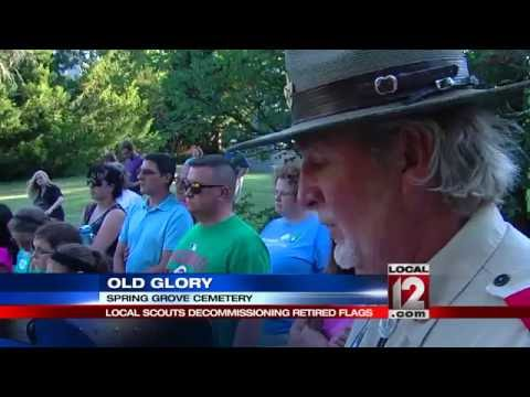 Local Scouts Decommission Retired Flags