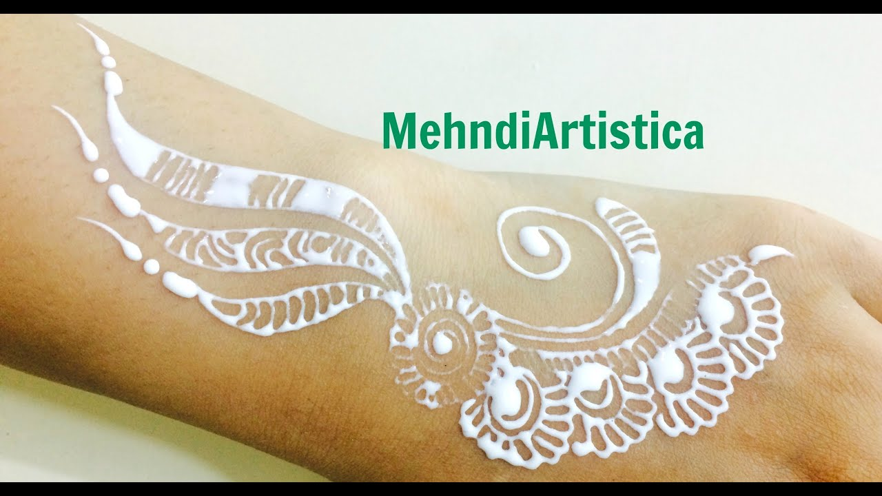 Simple White Henna Tattoo Drawing How To Design Mehendi On Hand