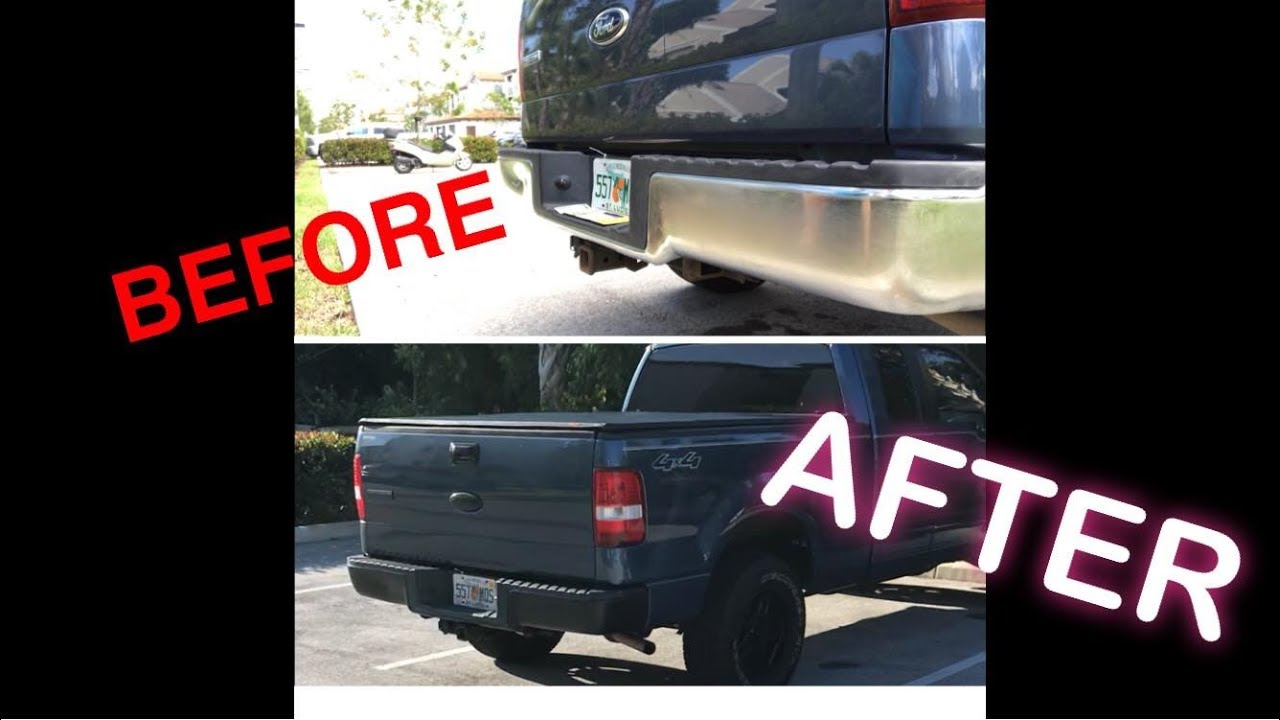 I Painted My Chrome Bumpers Black Using Plasti Dip F150 Looking For A Rocker Switch F150online Forums Transformation Part 1