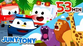 Compilation of Animal  Car Songs  Popular Playlist for Kids  Kindergarten Songs  JunyTony