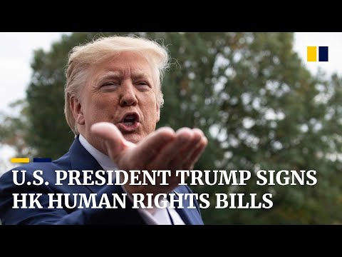 US President Donald Trump signs Hong Kong human rights bills into law