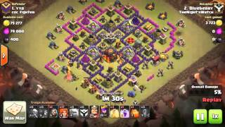 Clash of Clans COC TH9 GoValk vs TH10 3 Star War Strategy April 8 2016 Blueberry