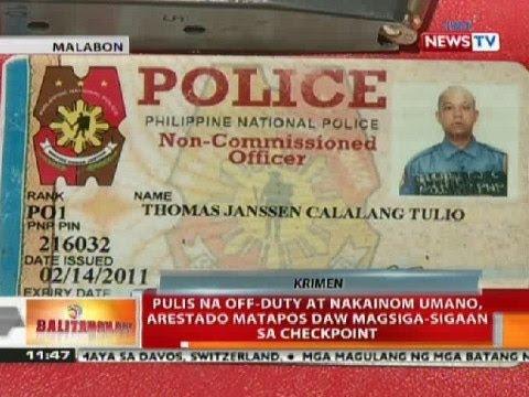 BT: Pulis na off-duty at nakainom sa Malabon, arestado nang magsiga-sigaan sa checkpoint