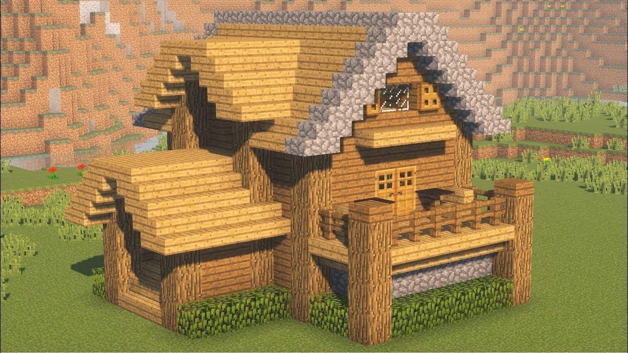 как построить начальный и красивый дом в майнкрафт #4