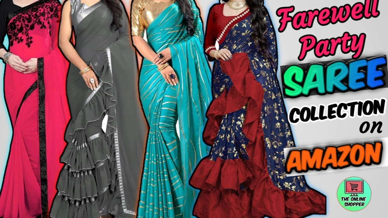 Latest Farewell Party Saree Collection   Best saree for farewell   Saree  For Girls   Ruffle   Silk