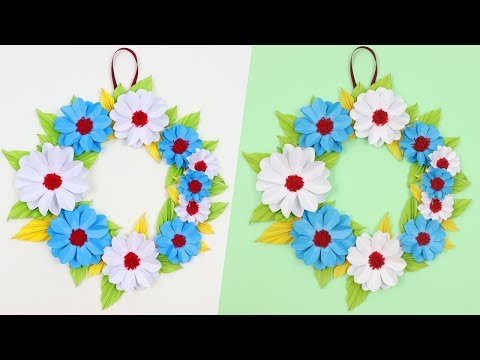 How to Make Easy & Beautiful Paper Flower Wall Hanging Idea | DIY Wall Decoration Ideas - EzzyCrafts