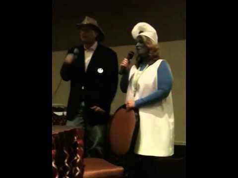 Smurfette and Walker Texas Ranger sing karaoke