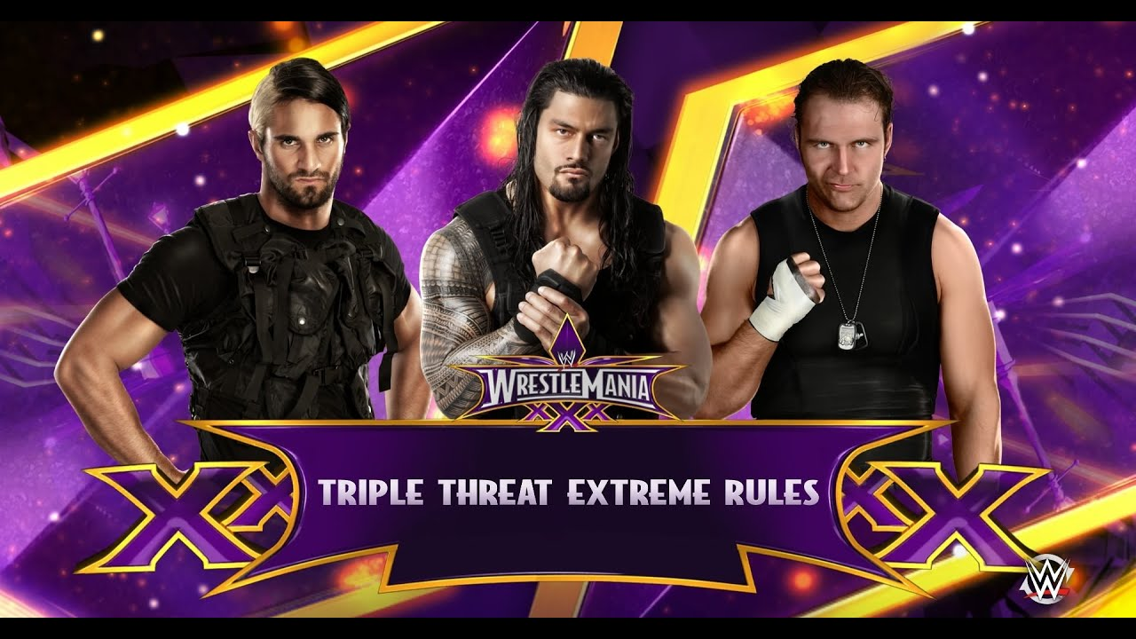 WWE 2K15 Roman Reigns vs Dean Ambrose vs Seth Rollins (Shield Extreme Rules Triple Threat) PS4