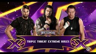 WWE 2K15 Roman Reigns vs Dean Ambrose vs Seth Rollins (Shield Extreme Rules Triple Threat) PS4