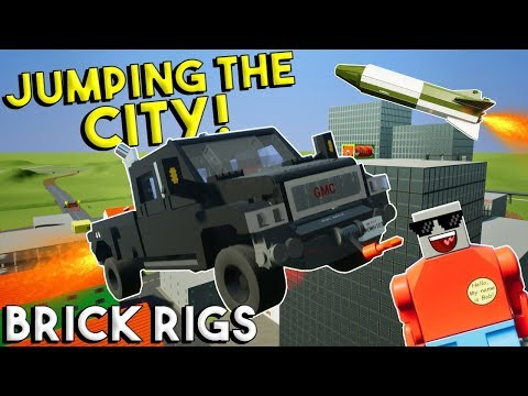 LEGO TRUCK JUMPS THE CITY?!?! - Brick Rigs Gameplay Challenge & Creations - Stunts & Jumps