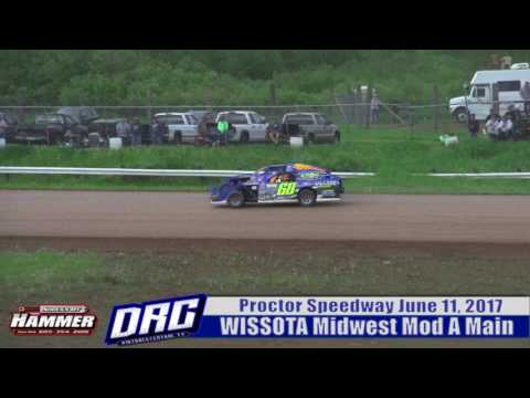 Proctor Speedway 6/11/17 WISSOTA Midwest Mod A Main Highlight