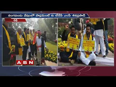 TDP MPs holds Protest Outside Parliament | TDP MP Siva Prasad variety Protest | | ABN Telugu