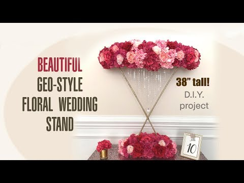 diy geometric style tall wedding floral centerpiece stand - $17