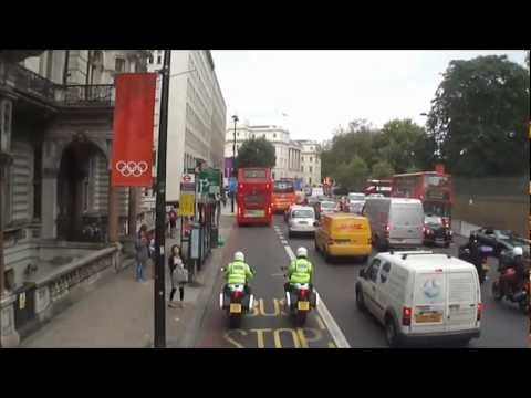 Number 73 Bus ride from Victoria Station to Oxford Street, London; Monday 10th September 2012
