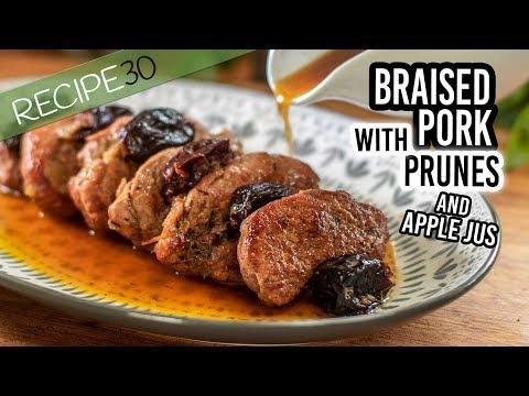 Rustic Braised Pork Tenderloin with Prunes and Apple Jus