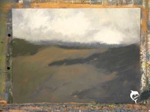 frame by frame oil painting of cliff landscape