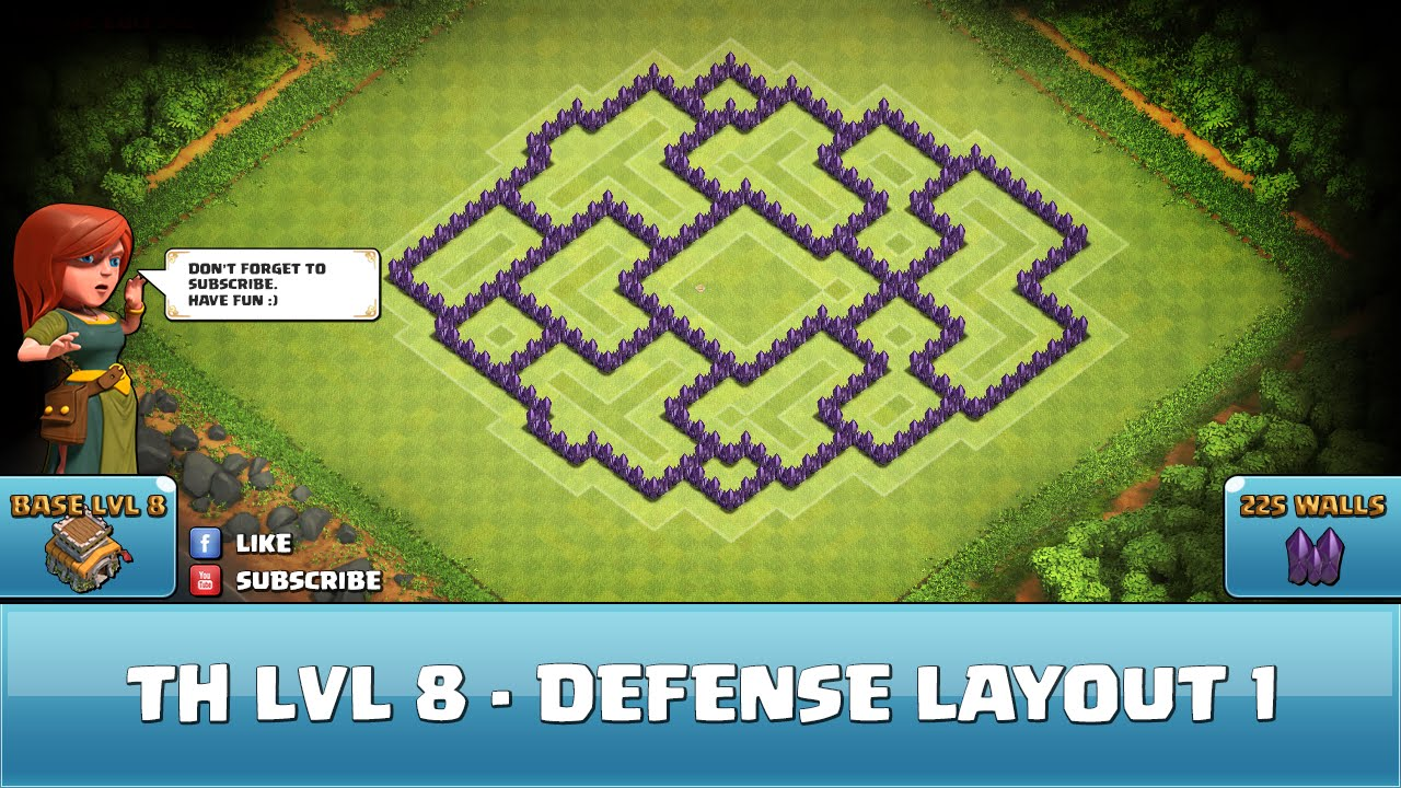 Clash of Clans Fun Wall Art TH8 - Defense Layout 1 - YouTube