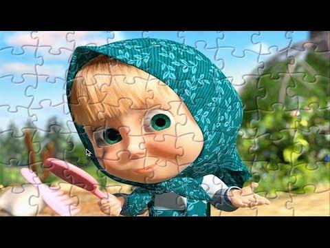 Masha eo Urso desenhos animados educativos para as crianças Brincando com brinquedos quebra cabeca