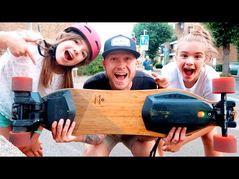 KIDS LEARN TO RIDE BOOSTED BOARD