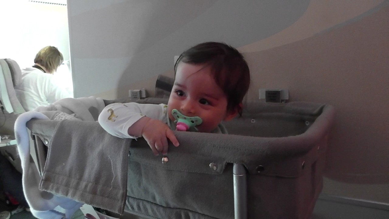 First Class A380 Lufthansa Traveling With 8 Months Old Baby On Emirates In Bassinet