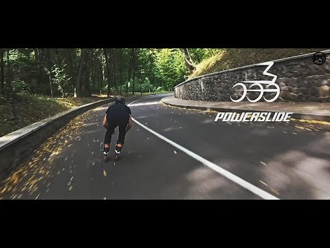 Fast downhill skating on 3 wheels at Mezhyhirya Park  - Powerslide Inline skates