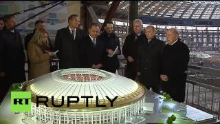 Russia: Putin and Blatter check out construction at Moscow